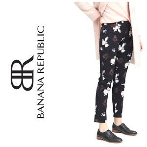 BANANA REPUBLIC Sloan Floral Slim Black Pants